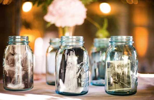 Mason Jar Wedding Photo Display