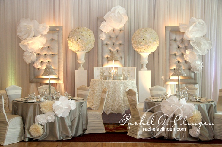 modern whimsical white and silver head table and room look