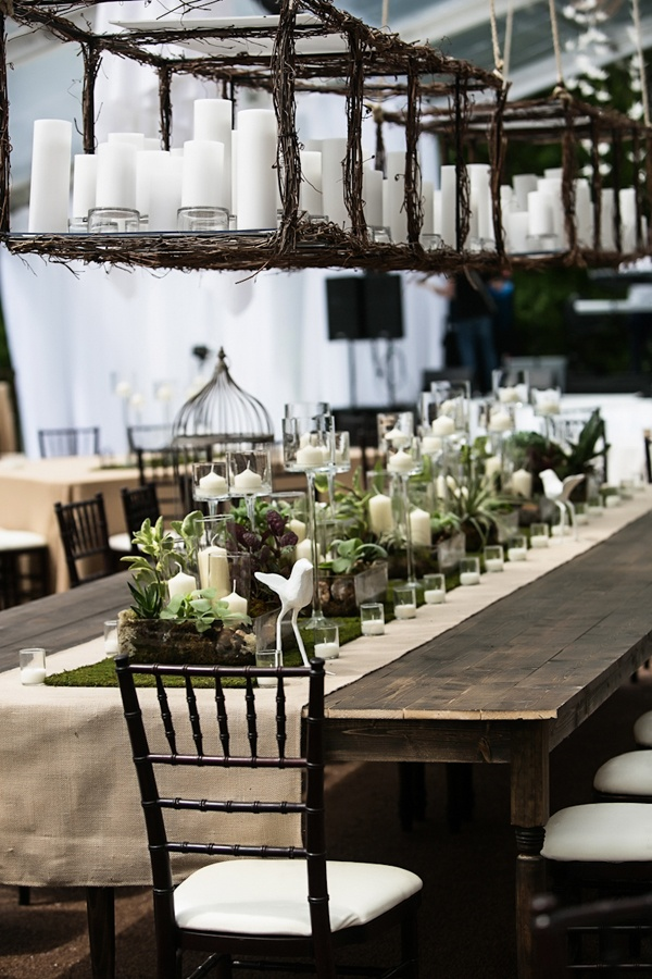 natural rustic greenery tablescape