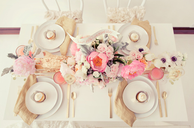 pink and gold metallic tabletop