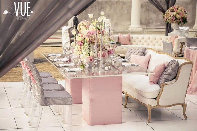 pink and grey romantic tablescape
