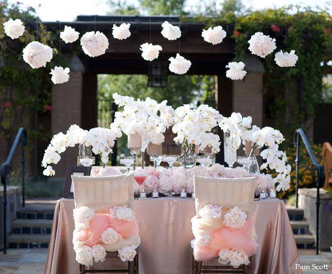 pom pom inspired pink and white tablescape