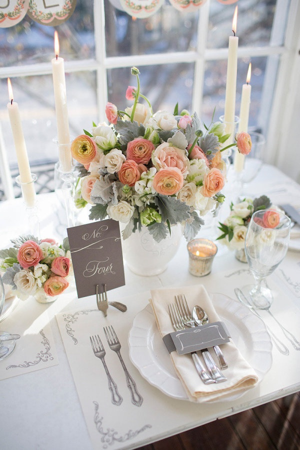Vintage elegance whimsical grey and peach tablescape