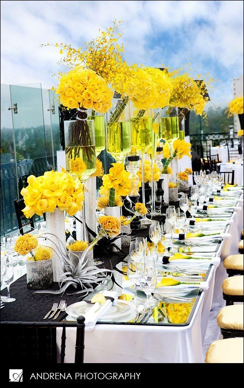 wedding tablescape-modern, gorgeous yellow centerpieces