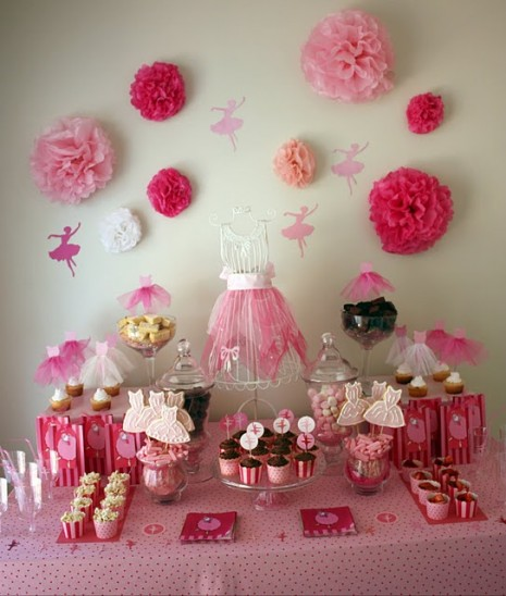 all pink ballerina party dessert table