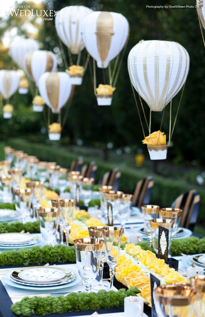amazing air balloon decorations and all yellow rose tablescape!