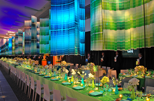 amazing pantone chandelier and colorful tablescape