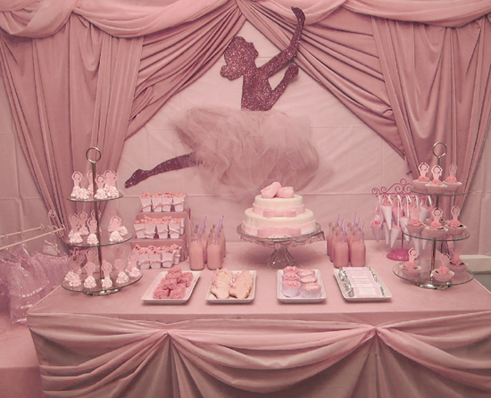 ballerina pink party dessert table
