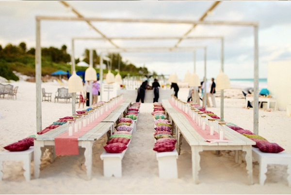 Beautiful beach wedding tablescape