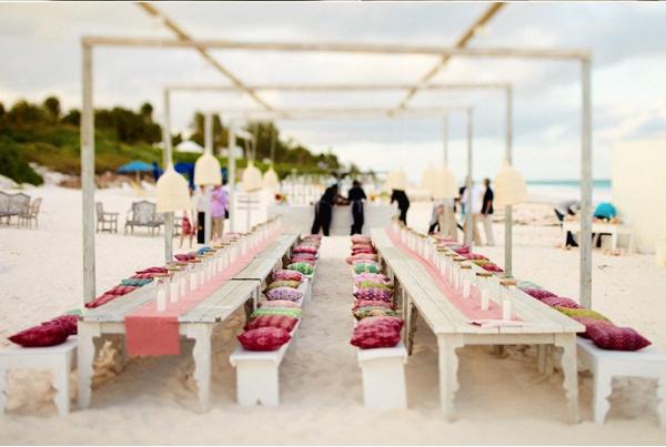 Beautiful beach wedding tablescape