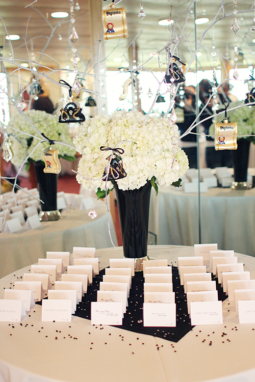 black and white grad party decor