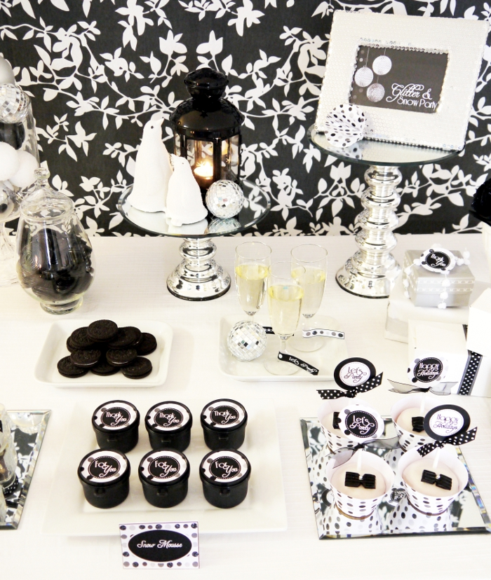 black and white grad party dessert bar