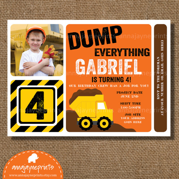 boys birthday construction party invitation