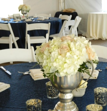 Derby Trophy filled with gorgeous Hydrangea and Roses