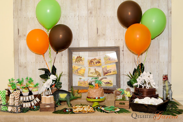 dinosaur party with brown and green theme