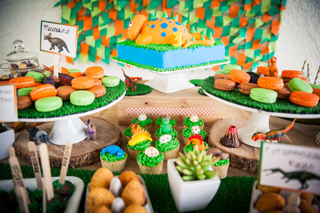 Dinosaur Themed Dessert Bar Perfect For A Little Boys Birthday