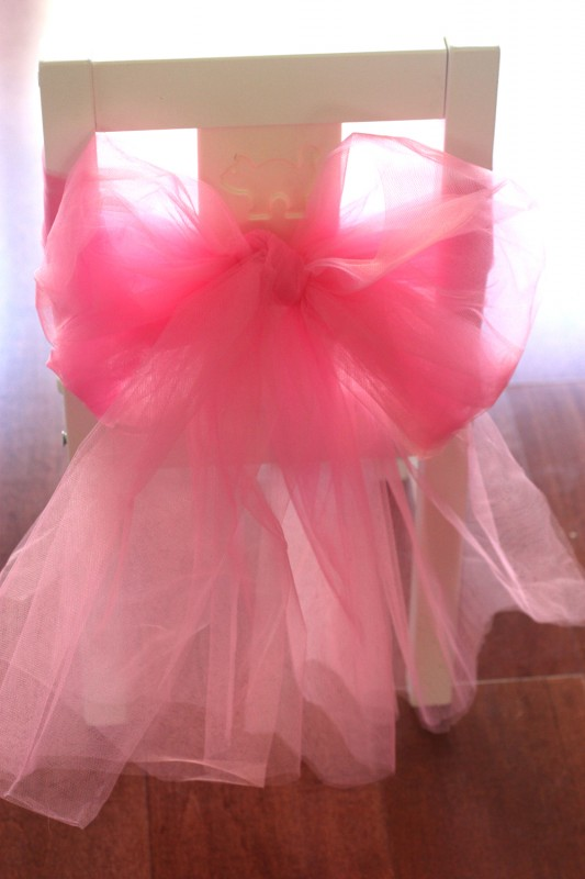 DIY girls ballerina party chair decor