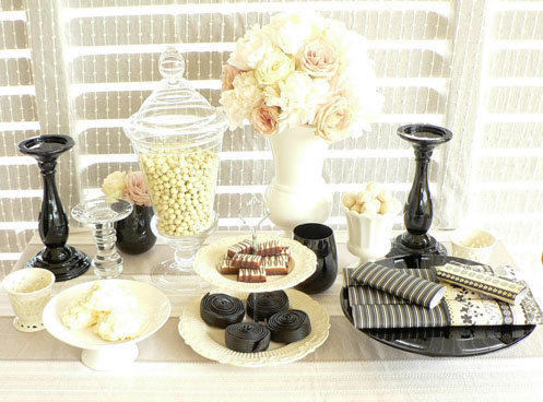 easy black and white dessert table for grad party