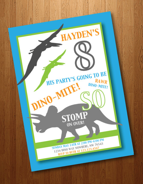fun dinosaur birthday party invitation