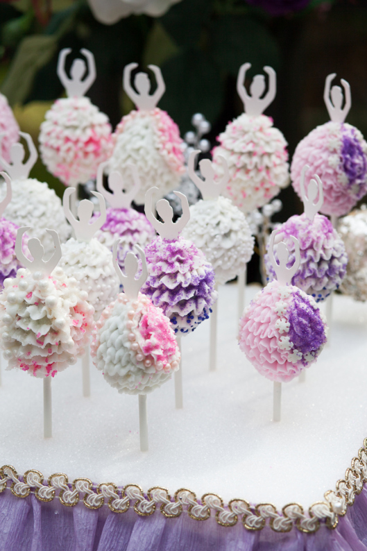 girls ballerina party cake pops