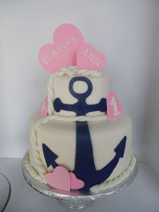 girls nautical birthday cake