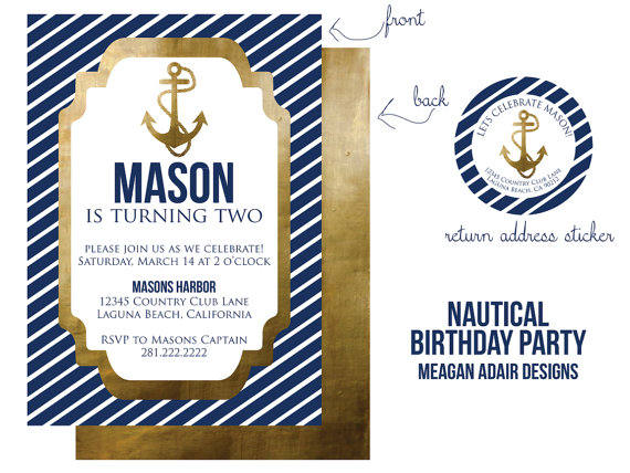 glammed up nautical boys birthday invitation