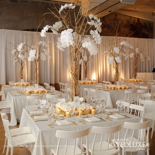 White and gold white and gold reception tables - White and gold room ...