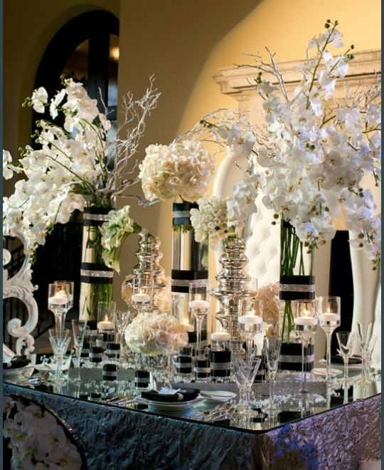 Gorgeous black, white and silver elegant tablescape