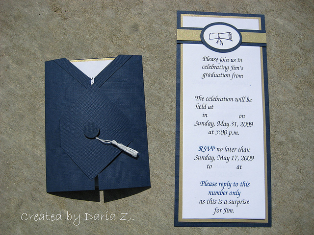 Graduation diploma and grad cap invitation