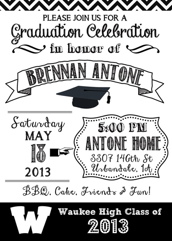 graduation black and white invitation