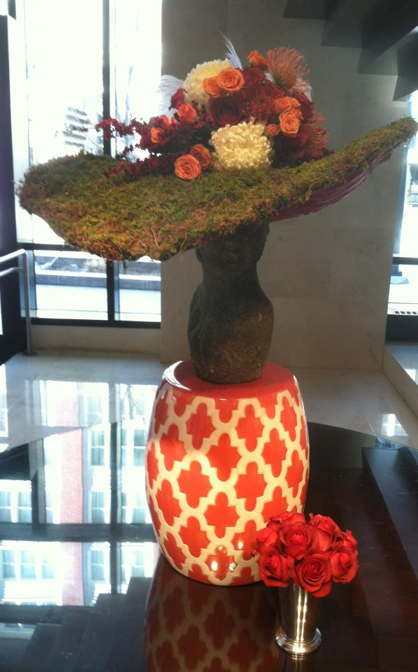 Kentucky Derby Hat made entirely out of flowers