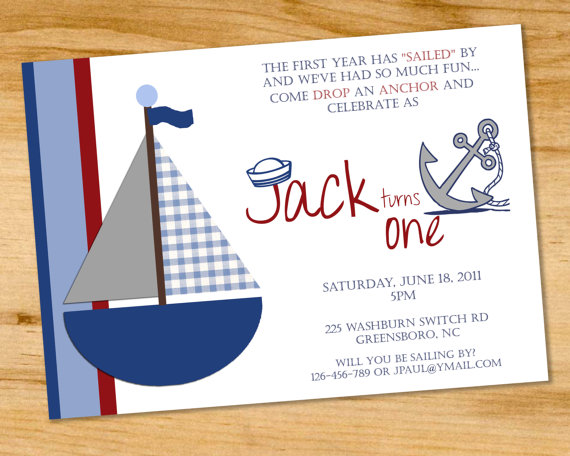 nautical boys birthday party invitation