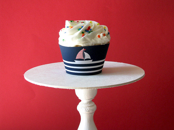 girls nautical cupcakes-adorable