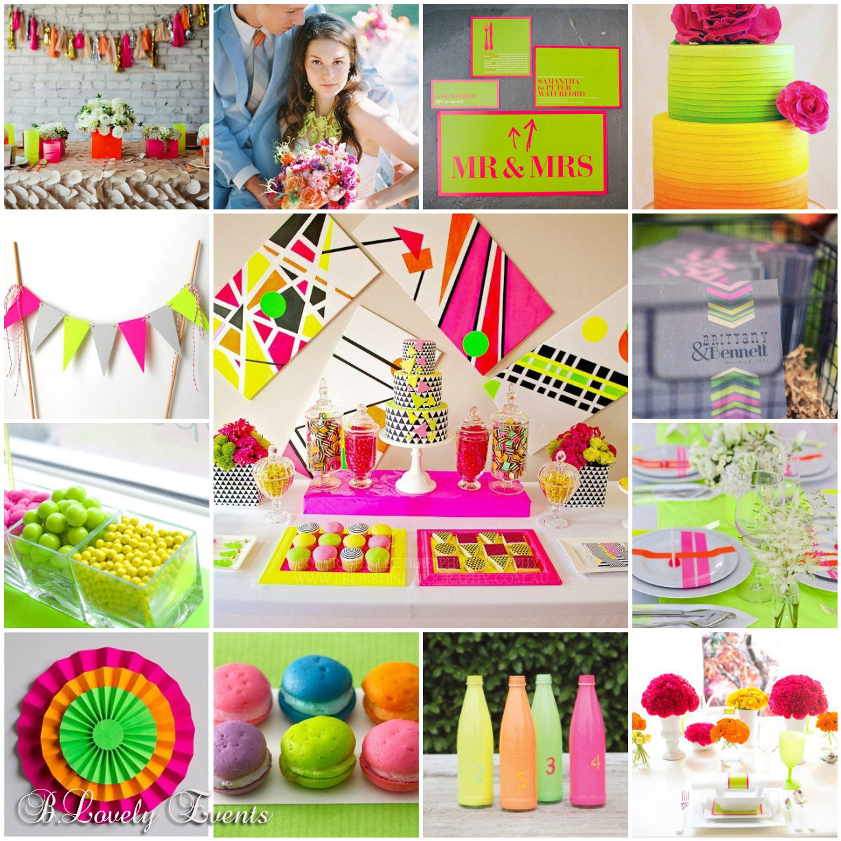 Neon Wedding Inspiration {totally trending!!}-B. Lovely Events