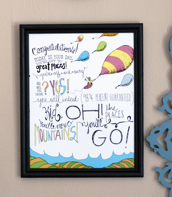 Oh the places you'll go grad wall print