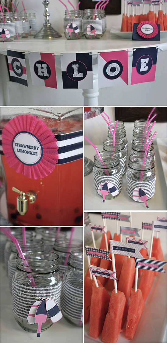 pink and navy nautical party decorations