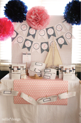 pink and navy nauticals girl birthday