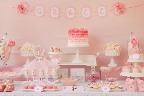 pink ruffles and tutus ballerina party dessert bar