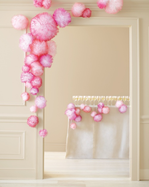 pink tulle pom poms-perfect for a ballerina party!