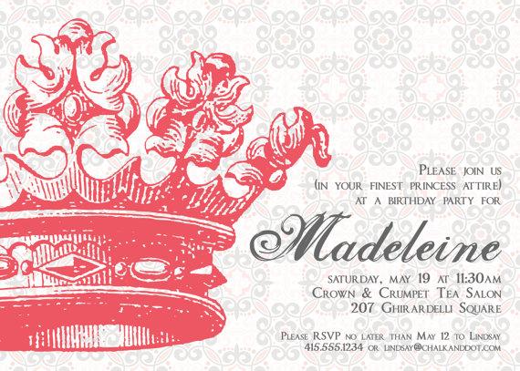princess brithday party invitation