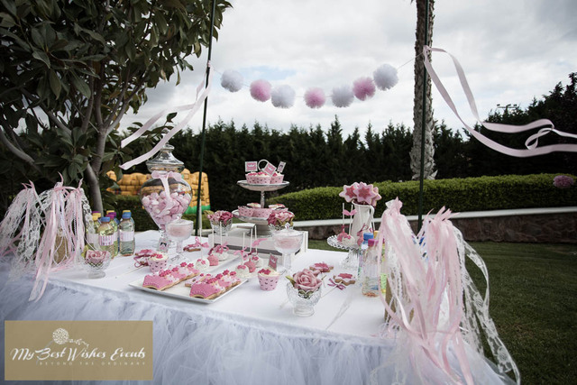 princess party with soft pink and white