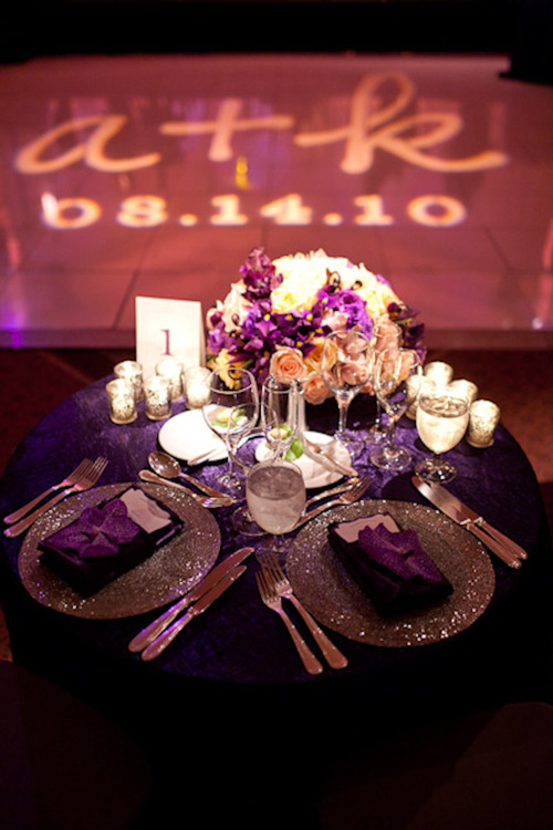 purple and Silver elegant wedding tablescape
