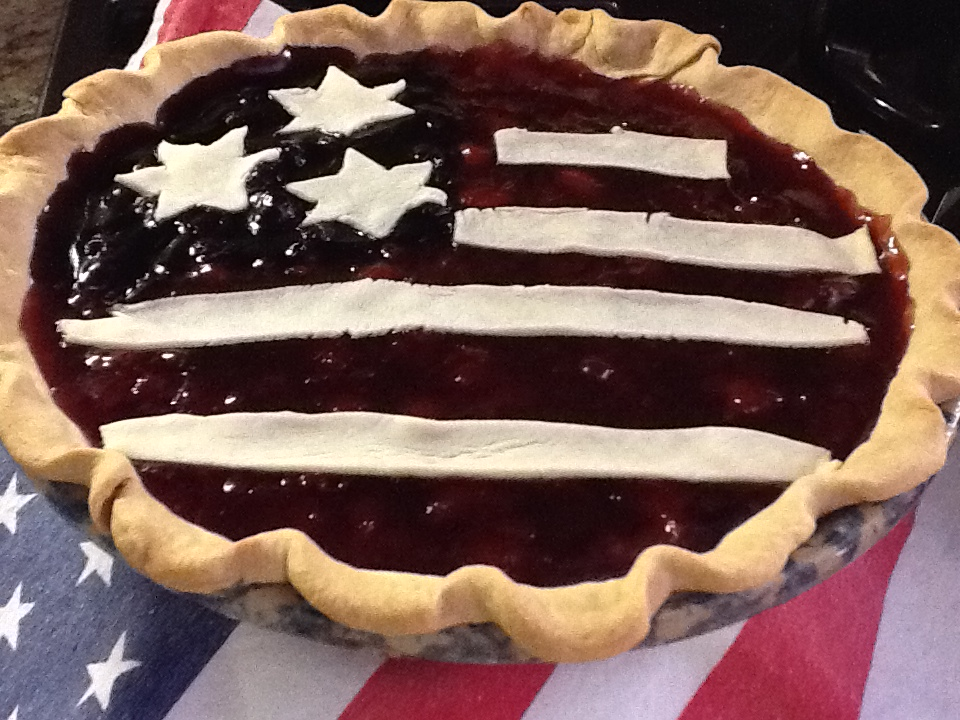 DIY Cherry Blueberry red white and blue pie