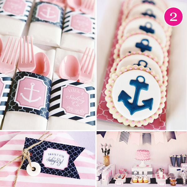 pink and navy girls nautical party