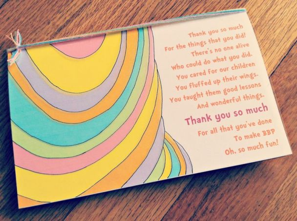 Thank you note for oh the places you'll go