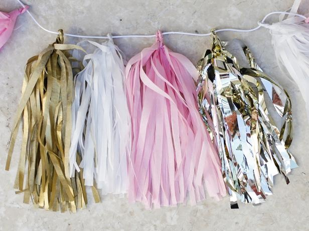 tissue paper tassel garland for grad party