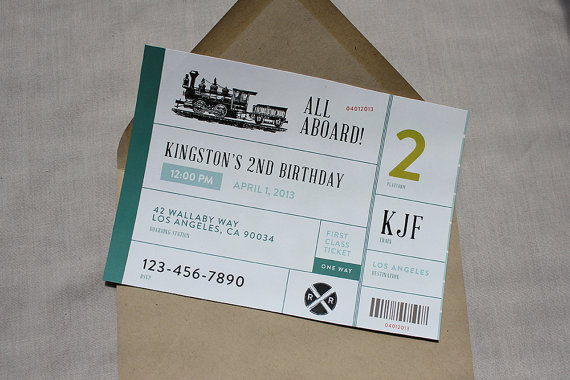 Vintage train party invitation