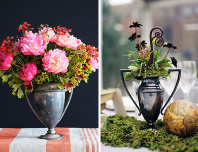 vintage trophy centerpieces for a Kentucky Derby Party