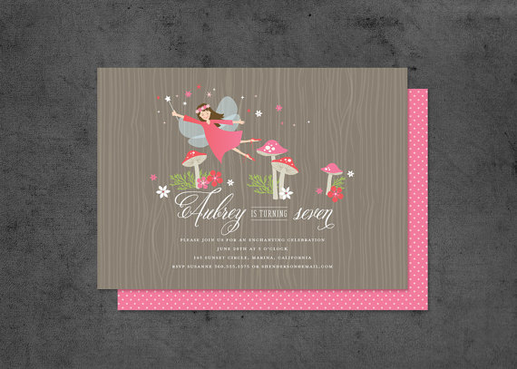 woodland fairy birthday party invitation