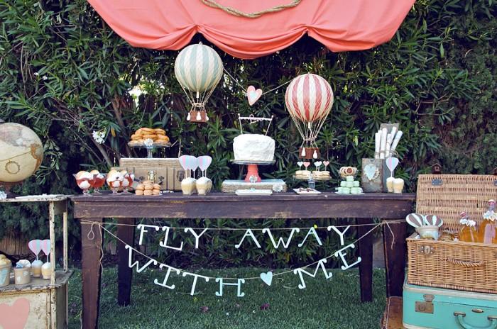air balloon baby shower dessert table